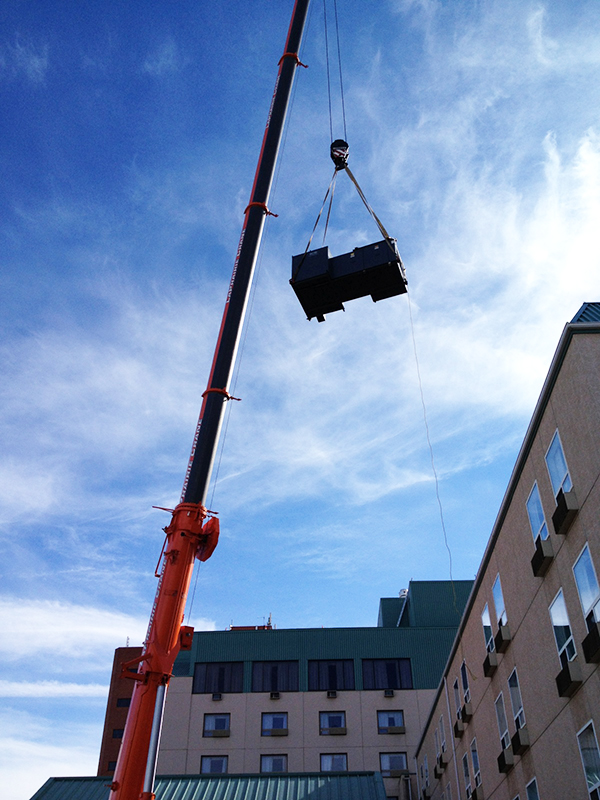 Keg roof top unit hoist